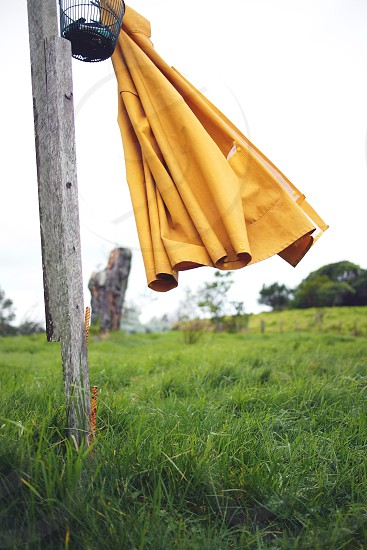 rain coat clothes line yellow wind photo