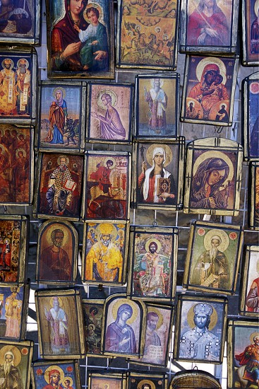 pictures in the Cathedral in the city centre of Varna on the Blacksea in Bulgaria in east Europe. photo