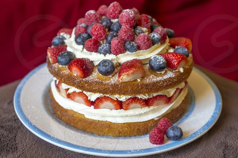 Summer cream cake photo