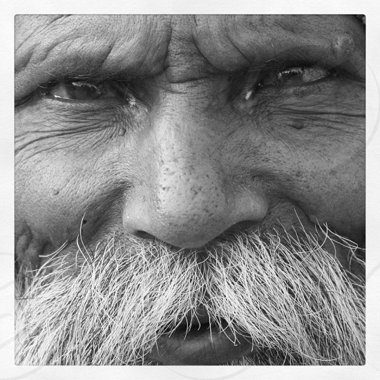 man's face with white mustache  photo