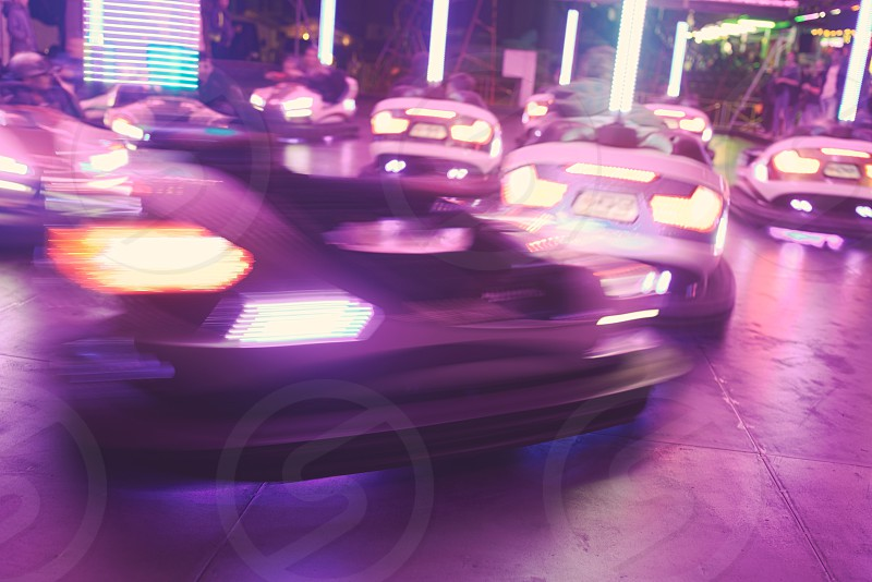 Fast Moving Bumper Cars at Town Fair photo