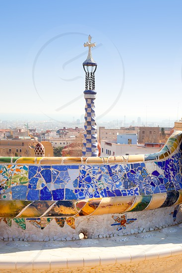Barcelona Park Guell of Gaudi tiles mosaic serpentine bench modernism photo