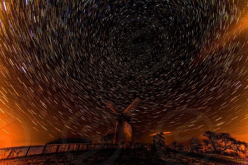 Windmill and Star-Trails photo