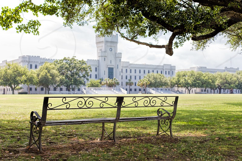 A bench overlooking the green lawn of the Citadel in Charleston South Carolina photo