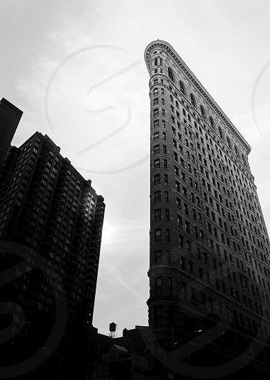 Black and white view of Flatiron Building New York City photo