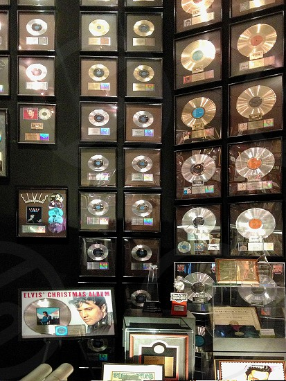 Graceland Memphis Tennessee TN Elvis Presley home landmark interior iconic awards retro Elvis Presley USA rock-and-roll rock-'n-roll music records gold records albums  photo