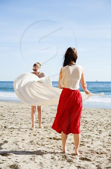 beach fun summer sun girls woman towel photo
