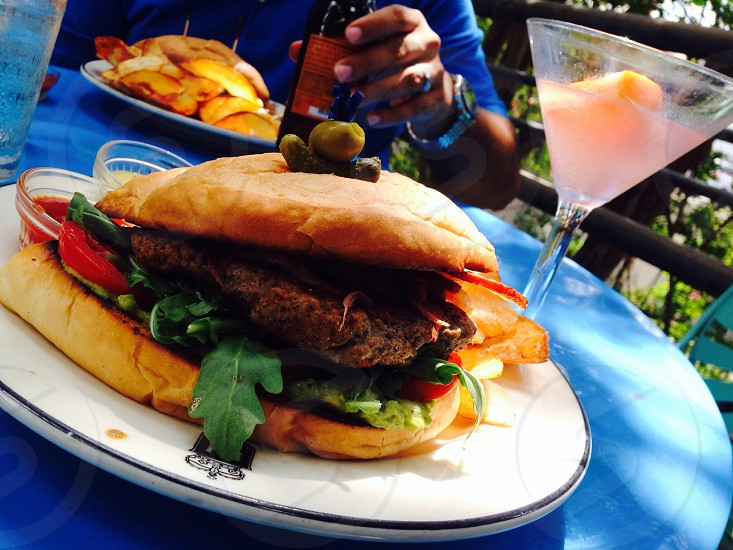 Hamburger. And a refreshing margarita & beer on a hot scorcher day.  photo