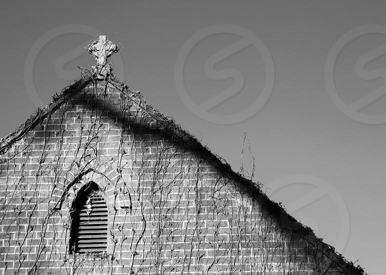 brick church roof photo