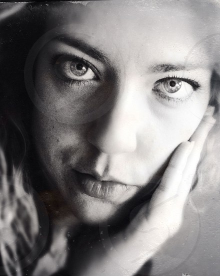 woman girl face sad eyes love lovesick black and white close photo