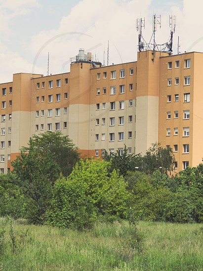 Renovated Orange Tall Residential Panel Building with Trees photo
