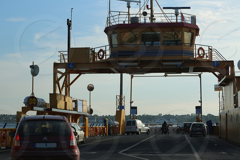 View from the car driving onto a ferry for transport from Faro to Gotland Sweden photo