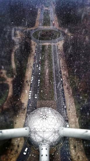 Snow on Atomium in Brussels Belgium  photo