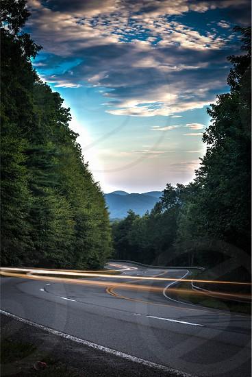 long exposure mountain drive lights photo
