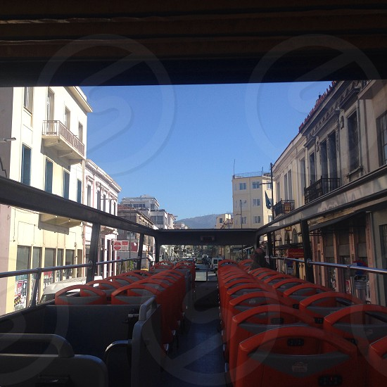 double decker bus red seats photo