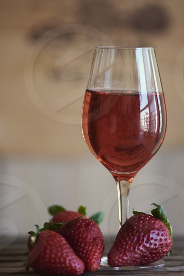 wine rose glass alcohol drink fresh strawberry photo