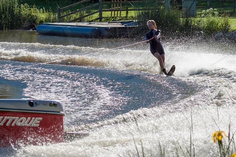 Water skiing at Wiremill Lake  near Felbridge Surrey photo