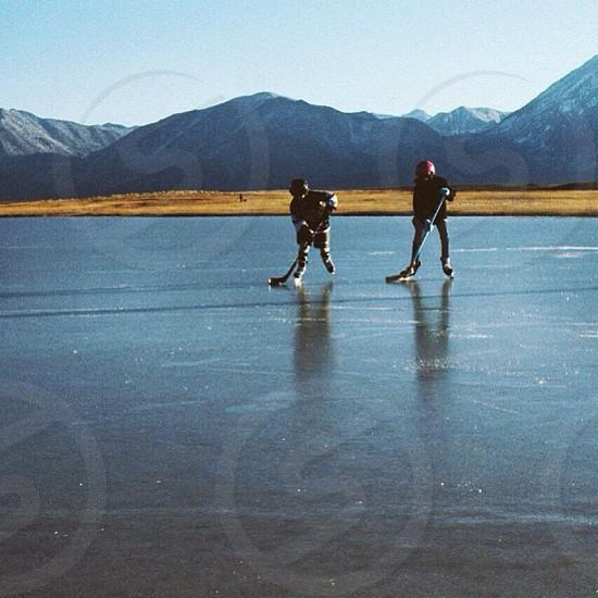 ice hockey outside  photo
