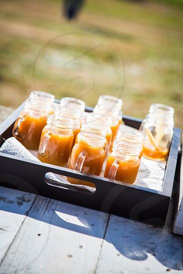 cider in mini mason jars photo