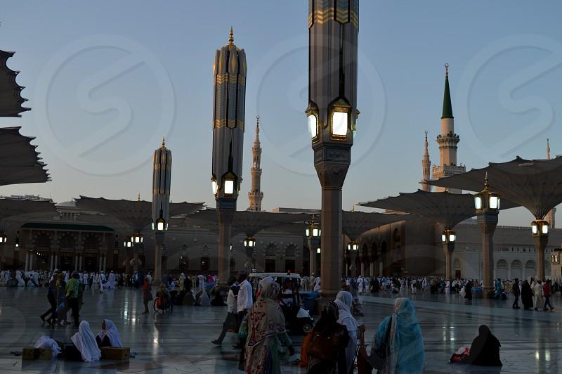 Prophet Muhammad Mosque In Madinah. Al-Masjid An-Nabavi. Great Islamic mosque in Saudia Arabia photo