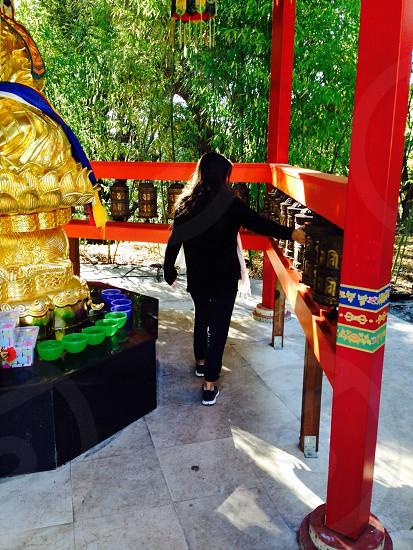 Prayer meditate peace thought female Buddhism  photo