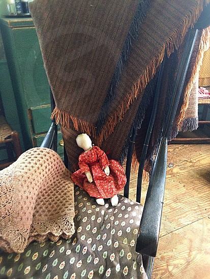 Simplicity - doll primitive simple old fashioned rocking chair simplicity blanket fringe  photo