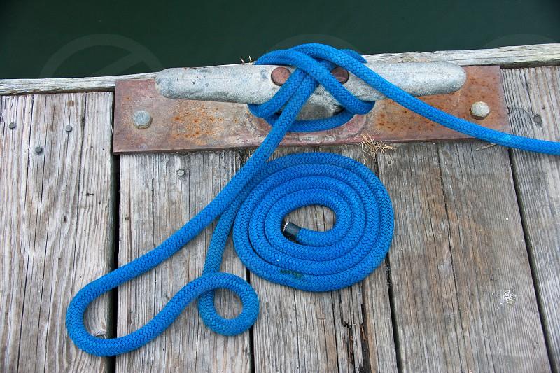 coiled dock rope blue oregon nautical photo
