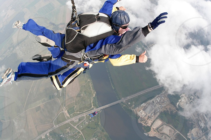 Happiness  freedom flying fly parachute extreme  adrenaline  together  photo