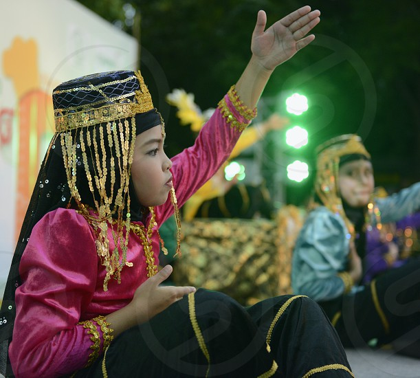 childern of  Thai muslim tradition at the Santichaiprakan Park at the Mae Nam Chao Phraya River in Banglamphu at the city of Bangkok in Thailand in Suedostasien. photo