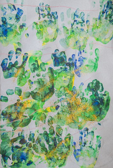 Child´s art work with hand prints and glitter. photo