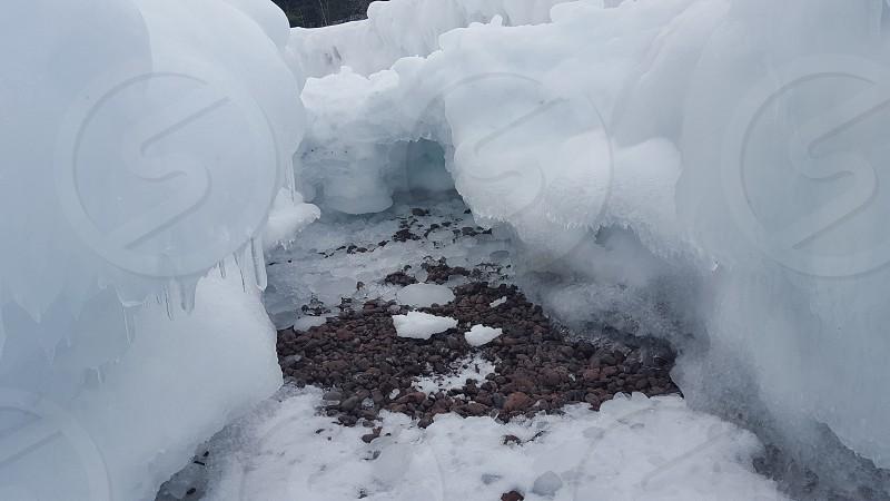ice cave ice snow winter Northern Michigan photo