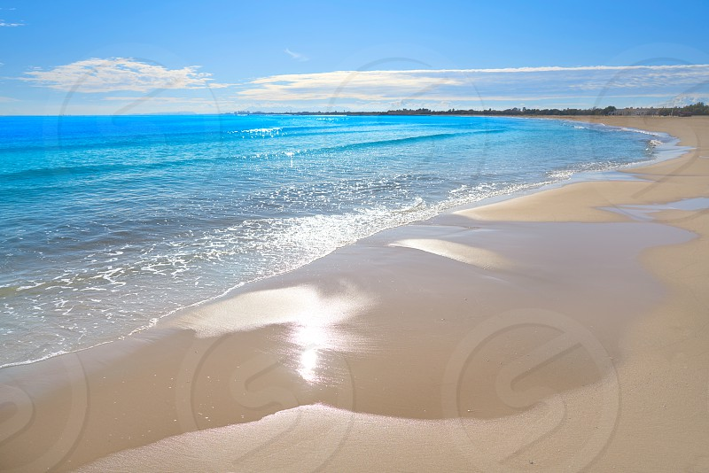 Pinedo beach in Valencia Spain at Mediterranean sea photo