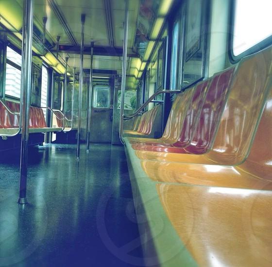 view of train passenger seats photo