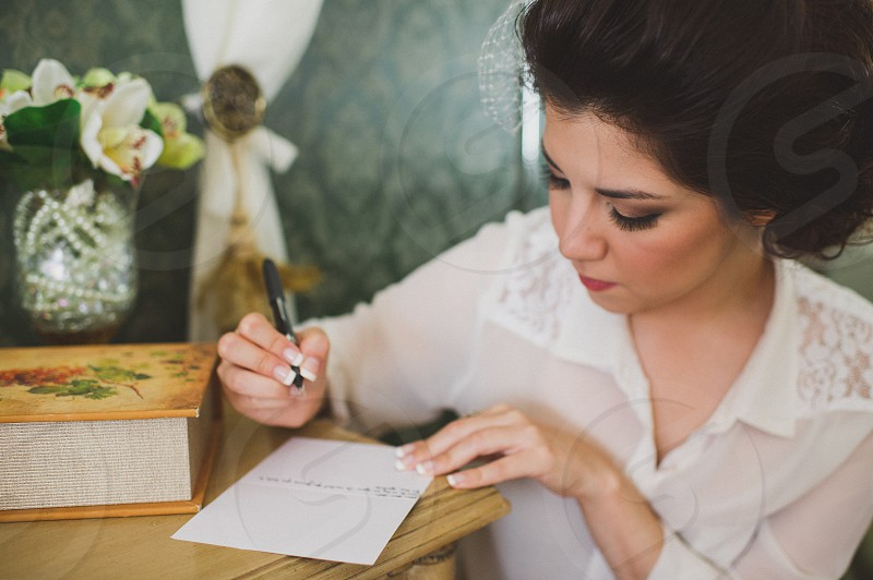 Writing a love letter photo