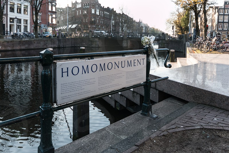 Homomonument - Amsterdam the first public homomonument for gay people as a rememberance for the prosecution anddiscrimination  of gay people. photo