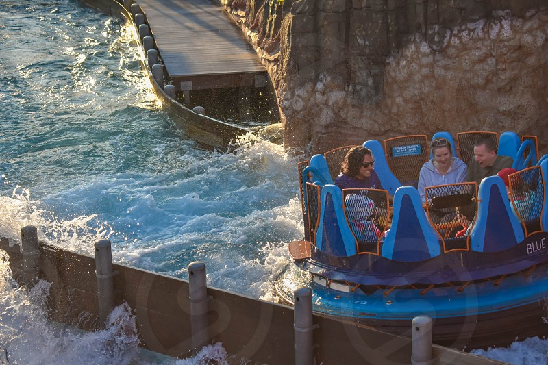 Orlando Florida. January 19 2019.  People enjoying river attraction ride Infinity Falls at Seaworld Marine Theme Park (4) photo