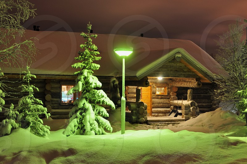 House in winter by the christmas style - 2 photo