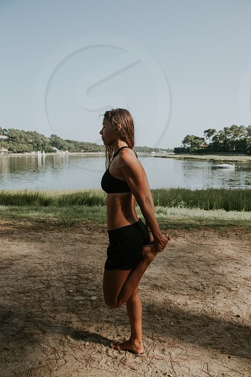 woman lifestyle outdoor workout south of France  photo