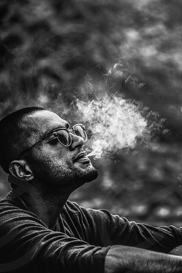 Smoke weed portraits blackandwhite  photo