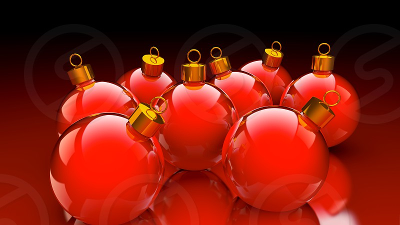 Chirstmas baubles in glossy red and golden as holidays background photo
