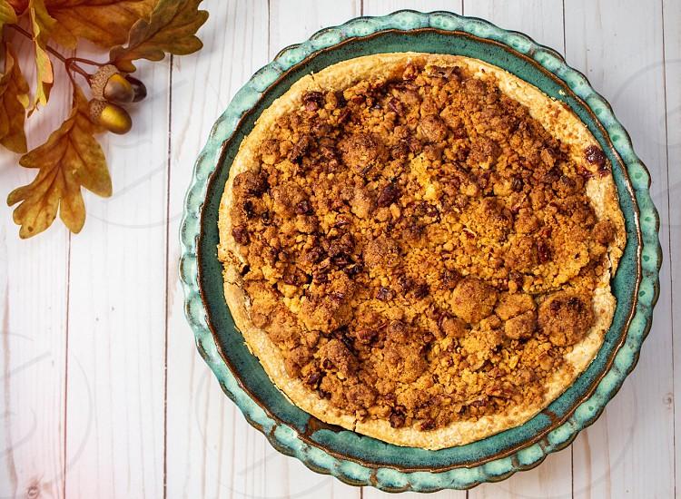 Pie Thanksgiving desert sweet pecan pie streusel  photo