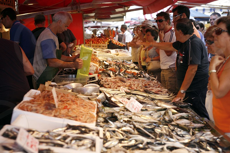 the fish market in the old Town of Siracusa in Sicily in south Italy in Europe. photo