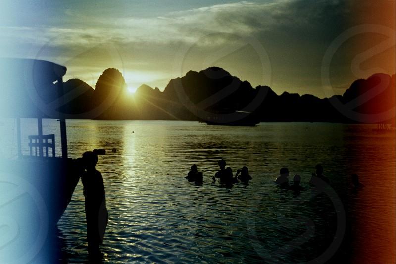 Sunset in Ha Long Bay photo