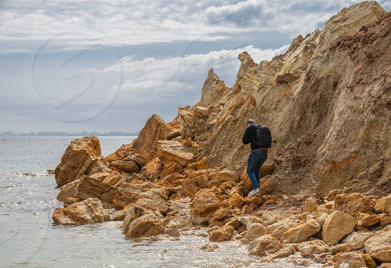 Grigoryevka Ukraine - 05.09.2019 Natural Shell rocks and stones  on the coast of Odessa in Ukraine photo