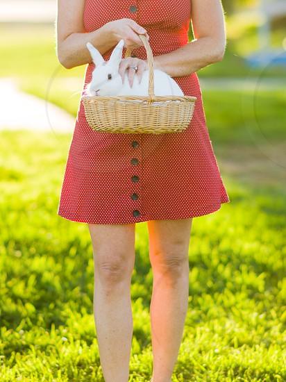 woman polka dot dress red dress bunny rabit basket photo