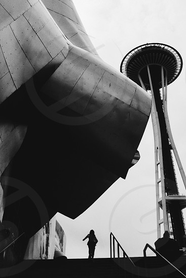 The Experience Music Project (EMP) Museum and the Space Needle in Seattle Washington  photo