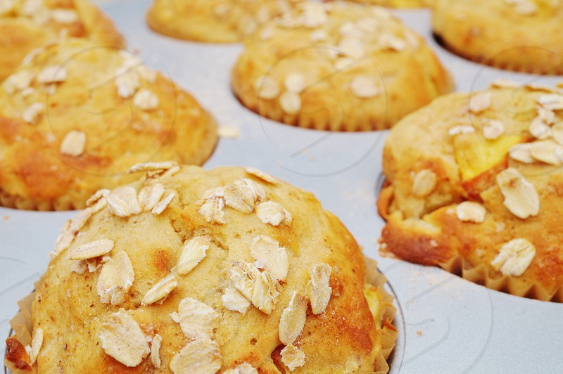 Baking oatmeal muffins for breakfast photo