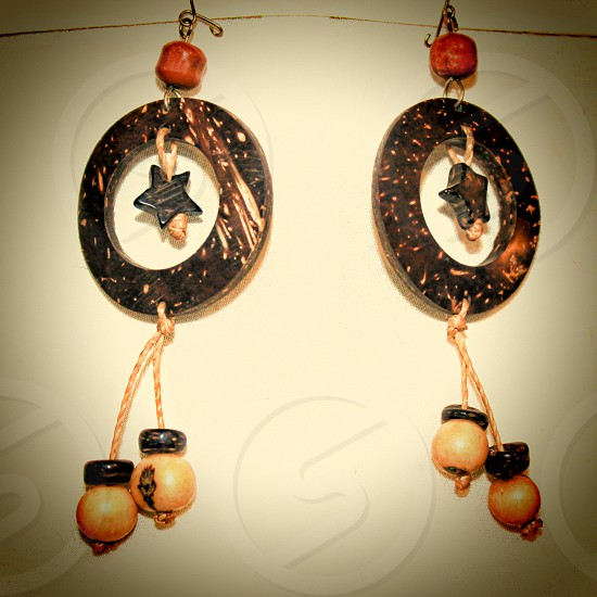 Hand made bohemian hippie dangling earrings photo