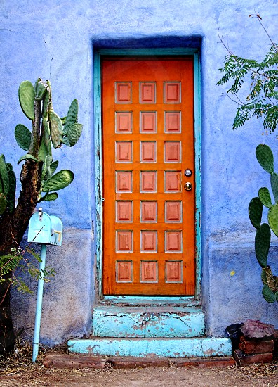 Bright orange door sits in a bright blue adobe home flanked by cacti. photo