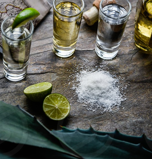 half sliced lime near salt and 3 drinking glass with with yellow and white liquid photo